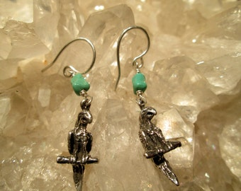 Parrot Earrings W/Turquoise Hand Cast Sterling Silver