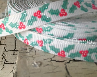 "3/8"" Christmas Winter Holly and Berries glitter grosgrain"