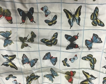 Gorgeous vintage French butterfly rectangle tablecloth barkcloth fabric