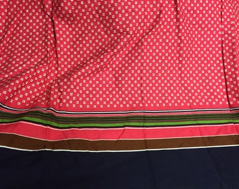 Gorgeous barkcloth like vintage French rectangle tablecloth bright corrdinating design