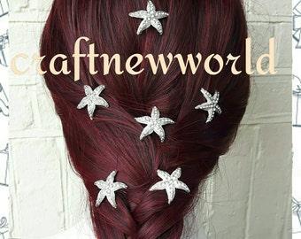 Sale!!!! Diamante crystal starfish hair pins. Wedding, bridal hair pins. Beach wedding hair pins. 6Pcs.