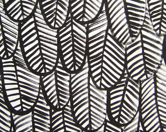 Print, Black & white gouache feathers, A4 eco-friendly Print on heavyweight recycled paper
