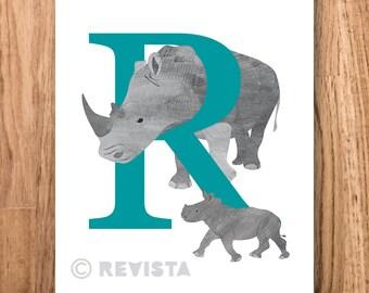 R for Rhino download, Kids printable, Baby name gift, Nursery wall art, Animal alphabet print, Letter poster childrens room