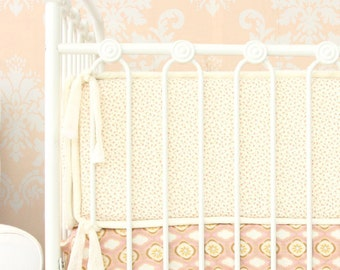 Vanessa's Vintage Floral Crib Bumpers | Pink & Cream Floral Baby Bumpers