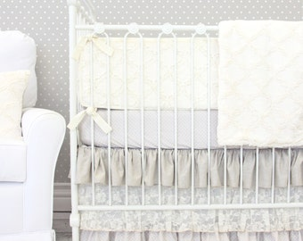 Jacquelyn's Linen & Lace Ruffle Baby Bedding | 2 or 3 Piece Crib Set