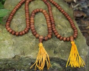 Sandalwood 108 Bead Japa Mala Necklace & Prayer Bead Bracelet