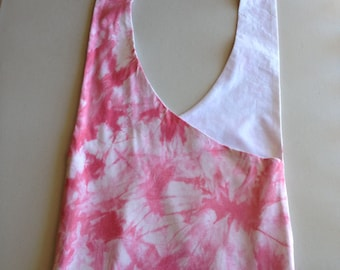 Handmade Upcyced Pink and White Tie Dye Hobo Shoulder Purse