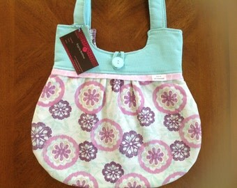 READY TO SHIP!! Teal/purple floral purse, purple lining, bag,pleated bag, gift,damask bag