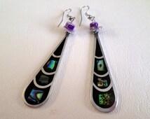Dangle Earrings, Long Black Teardrop with Abalone Inlay, Alpaca, Mexico, Southwestern Country Western Wear, Boho, ID 256526101