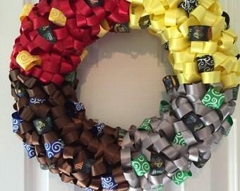 Handmade Harry Potter Hogwarts Houses Ribbon Wreath