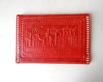 Moroccan Tooled Red Leather Wallet