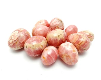 Petite Rhodochrosite Egg  - Wire Wrapping - Chakra -  Buy 1, 5, 10 or 20 pieces (RK59B4-03)