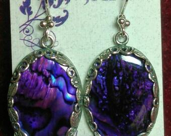 """1"""" Purple Paua Shell Dangle Earrings"""
