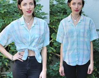 80s DIANE VON FURSTENBERG Pastel Plaid Button Up Short Sleeved with Collar Size M Medium