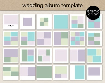 "12x12"" Wedding Album Template, Photobook Template, Photo Collage Template, Wedding Photobook, Single & Double Page Template"