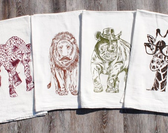 African Tea Towels Set of 4 - Screen Printed Flour Sack Towels - Absorbent Towels for Dishes - African Theme - Whimsical Towels
