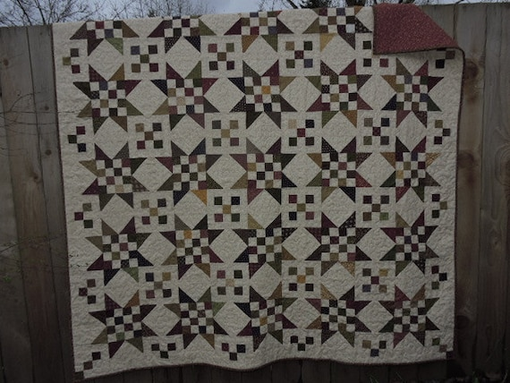 Large Patchwork Or Scrappy Quilt With Stars In Gold Burgundy