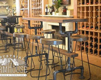 RESTAURANT TABLE: Industrial Farmhouse Bar Height Kitchen Table