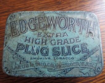 Antique Tobacco Tin - Vintage Tin - Edgeworth Smoking Tobacco - Blue Tin