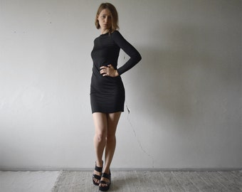 vintage little black long sleeve bodycon dress with round crew neck small xs size