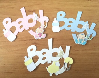 3 Large 'Baby' Word Card Toppers for Baby Cards Cardmaking Scrapbook Albums
