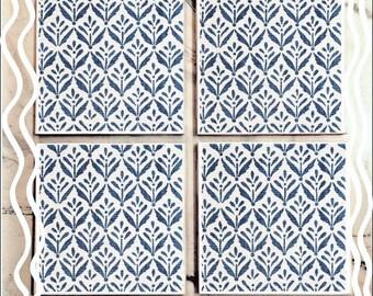 Navy and White Print Tile Coaster Set