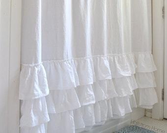 linen shower curtain white. Ruffle Shower Curtain  Triple Basic White Cotton Handmade Shabby Burlap with