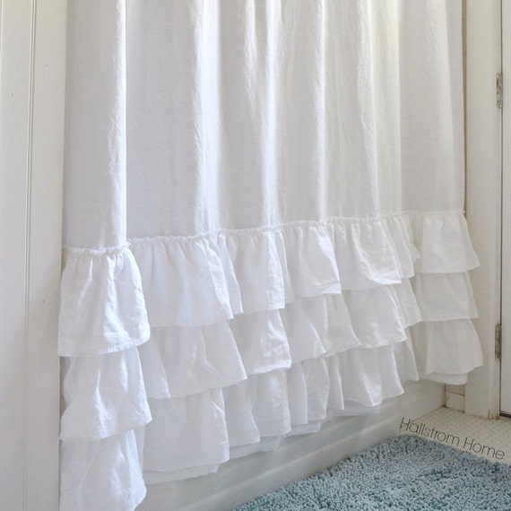 Ruffle Shower Curtain Triple Ruffle Basic White White