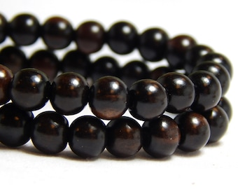 6mm Tiger Ebony Wood Beads, Round Black Wood Beads, 6mm Black Beads, Black Wood Beads, Tiger Ebony Beads, Small Black Beads, D-J10