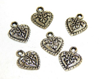 6 Ornate Silver Heart Charms, Antique Silver Heart Charm, Heart Charms, Fancy Heart Charm, Heart Pendant, Small Heart Charms,  SC-40