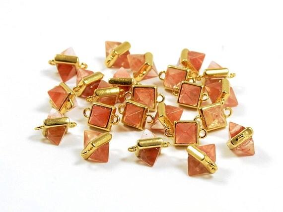 Rose Quartz Gemstone Pointed Connector/ Octahedron Pendant with Pink Rose Quartz in Anti-tarnish Gold Plating  - 2 pcs/ order