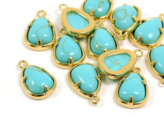 Gemstone Charm/ Teardrop Pendant with Turquoise in Anti-tarnish Gold Plating  - 2 pcs/ order
