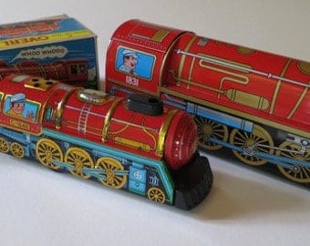 2 Vintage Tin Litho Overland Express Trains