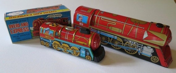 2 Vintage Tin Litho Overland Express Trains