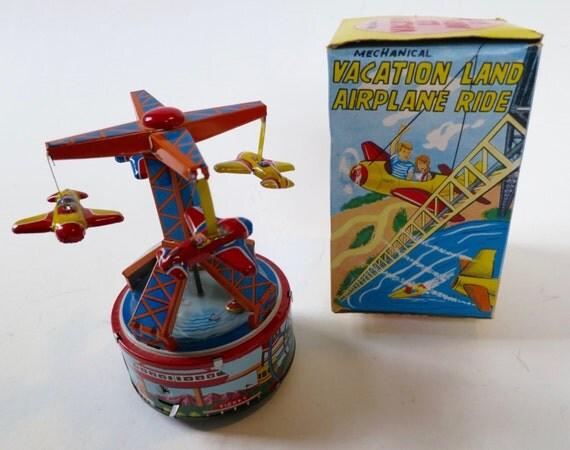 Vacation Land Airplane Ride, Japanese, tin toy