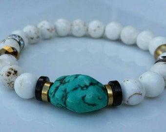 GrandTurk- Turquoise focal, crystals, gold and white magnesite gemstone bracelet.