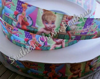 3 yards of 7 / 8  inch tinkerbell grosgrain ribbon