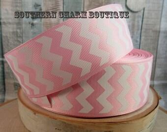 "3 yards of 1 1/2"" light pink chevron grosgrain ribbon"