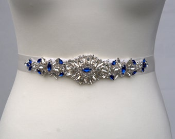 Bridal Delicate Rhinestone Belt Blue Navy Bridal Sash Blue Sash Belt Wedding Dress Sash Belt  Bridesmaid Sash Belt, Wedding dress sash