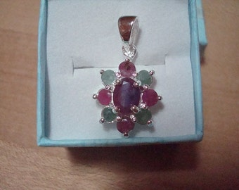 Genuine Ruby And Emerald 925 Sterling Silver Flower Pendant