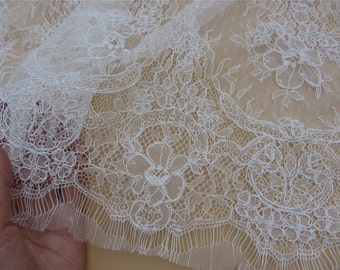 Chantilly corded Lace, Chantilly Lace Fabric, 43 inches Wide for Veil, Dress, Costume, Craft Making, 3 yards/piece