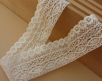 Cotton Lace Trim - By The yard-3CM - Crocheted Lace Ribbon - Crochet Trim - Lace Hem - Lacy Ribbon - Off White Cream Natural Cotton