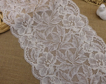 "ivory white wedding lace,Stretch Lace Trim - Extra Wide Lace Trim, 7.8"" Wide Lace Trim-Ivory wedding ribbon"
