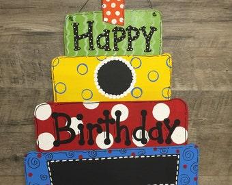 Custom Personalized Happy Birthday Cake Blank Chalkboard Polka Dot Decoration Door Hanger - Hand Painted Wood primary