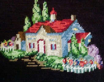 Vintage Unframed Needlepoint of House & Garden With White Picket Fence