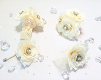 Corsages, Boutonnieres, Groom boutonniere, Prom corsage, Prom boutonniere, Mother's Corsages, Fake Flower Corsages, White Paper corsages
