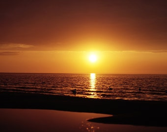 Sunset Shimmer, sunset print, sea photography, seacape art, orange sunset, sea prints, coastal decor, beach photography, golden sunset