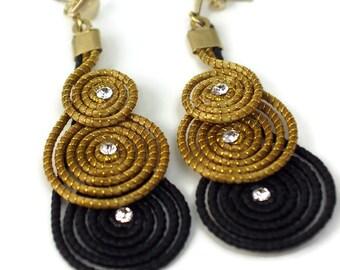 Handmade Bohemian Earrings, Spiral Earrings, Golden Grass, Tribal Earrings, Drop Earrings, Fiber Earrings, Organic Earrings,