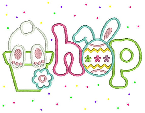 Machine embroidery design easter bunny hop applique by