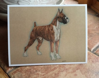 Portrait of A Boxer by Lori Bush Blank Notecard